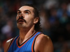 DENVER, CO - JANUARY 19:  Steven Adams #12 of the Oklahoma City Thunder awaits a free throw against the Denver Nuggets at Pepsi Center on January 19, 2016 in Denver, Colorado. The Thunder defeated the Nuggets 110-104. NOTE TO USER: User expressly acknowledges and agrees that, by downloading and or using this photograph, User is consenting to the terms and conditions of the Getty Images License Agreement.  (Photo by Doug Pensinger/Getty Images)