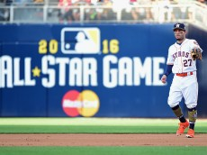 SAN DIEGO, CA - JULY 12:  Jose Altuve #27 of the Houston Astros looks on during the 87th Annual MLB All-Star Game at PETCO Park on July 12, 2016 in San Diego, California.  (Photo by Harry How/Getty Images)