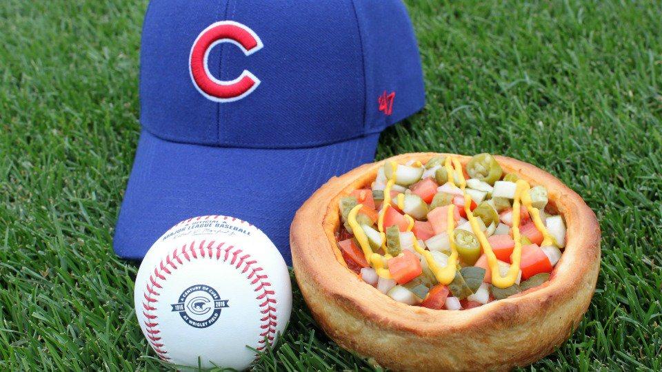 Cubs hot dog deep dish pizza