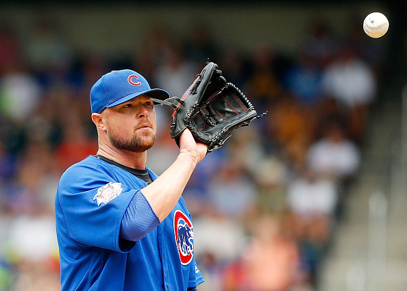 NEW YORK, NY - JULY 03: Jon Lester #34 of the Chicago Cubs in action against the New York Mets at Citi Field on July 3, 2016 in the Flushing neighborhood of the Queens borough of New York City. The Mets defeated the Cubs 14-3. (Photo by Jim McIsaac/Getty Images)