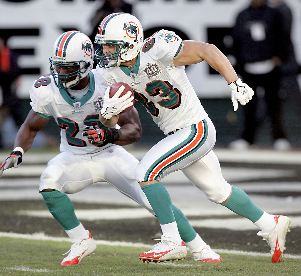Miami kick returner Wes Welker in late game action as the Miami Dolphins defeated the Oakland Raiders by a score of 33 to 21 at McAfee Coliseum, Oakland, California, November 27, 2005. (Photo by Robert B. Stanton/NFLPhotoLibrary)