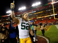 LANDOVER, MD - JANUARY 10: Inside linebacker Clay Matthews #52 of the Green Bay Packers celebrates after the Green Bay Packers defeated the Washington Redskins 35-18 during the NFC Wild Card Playoff game at FedExField on January 10, 2016 in Landover, Maryland. (Photo by Rob Carr/Getty Images)