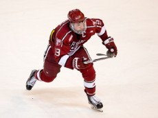 WORCESTER, MA - MARCH 25: Jimmy Vesey #19 of the Harvard Crimson skates against the Boston College Eagles during game two of the NCAA Division I Men's Ice Hockey Northeast Regional Championship Semifinals at the DCU Center on March 25, 2016 in Worcester, Massachusetts. The Eagles won 4-1. (Photo by Richard T Gagnon/Getty Images) *** Local Caption *** Jimmy Vesey