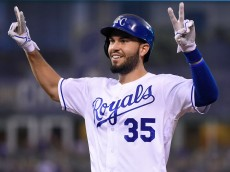 KANSAS CITY, MO - AUGUST 29: Eric Hosmer #35 of the Kansas City Royals celebrates a RBI single in the seventh inning against the New York Yankees at Kauffman Stadium on August 29, 2016 in Kansas City, Missouri. (Photo by Ed Zurga/Getty Images)