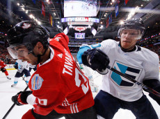 TORONTO , ON - SEPTEMBER 27: Defenceman Christian Ehrhoff #10 of Team Europe battles for the puck against forward John Tavares #20 of Team Canada during Game One of the World Cup of Hockey final series at the Air Canada Centre on September 27, 2016 in Toronto, Canada. (Photo by Dennis Pajot/Getty Images)