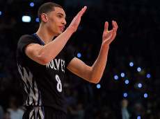 NEW YORK, NY - FEBRUARY 14: Zach LaVine #8 of the Minnesota Timberwolves reacts during the Sprite Slam Dunk Contest as part of the 2015 NBA Allstar Weekend at Barclays Center on February 14, 2015 in the Brooklyn borough of New York City. NOTE TO USER: User expressly acknowledges and agrees that, by downloading and or using this photograph, User is consenting to the terms and conditions of the Getty Images License Agreement. (Photo by Elsa/Getty Images)