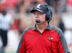 LOUISVILLE, KY - SEPTEMBER 17: Louisville Cardinals head coach Bobby Petrino looks on during the game against the Florida State Seminoles at Papa John's Cardinal Stadium on September 17, 2016 in Louisville, Kentucky. Louisville defeated Florida State 63-20. (Photo by Joe Robbins/Getty Images)