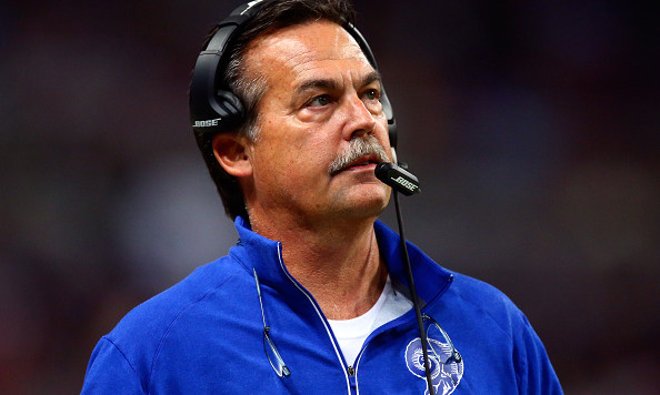 ST. LOUIS, MO - NOVEMBER 1: Head coach Jeff Fisher of the St. Louis Rams watches from the sideline in the third quarter  against the San Francisco 49ers at the Edward Jones Dome on November 1, 2015 in St. Louis, Missouri. (Photo by Dilip Vishwanat/Getty Images)