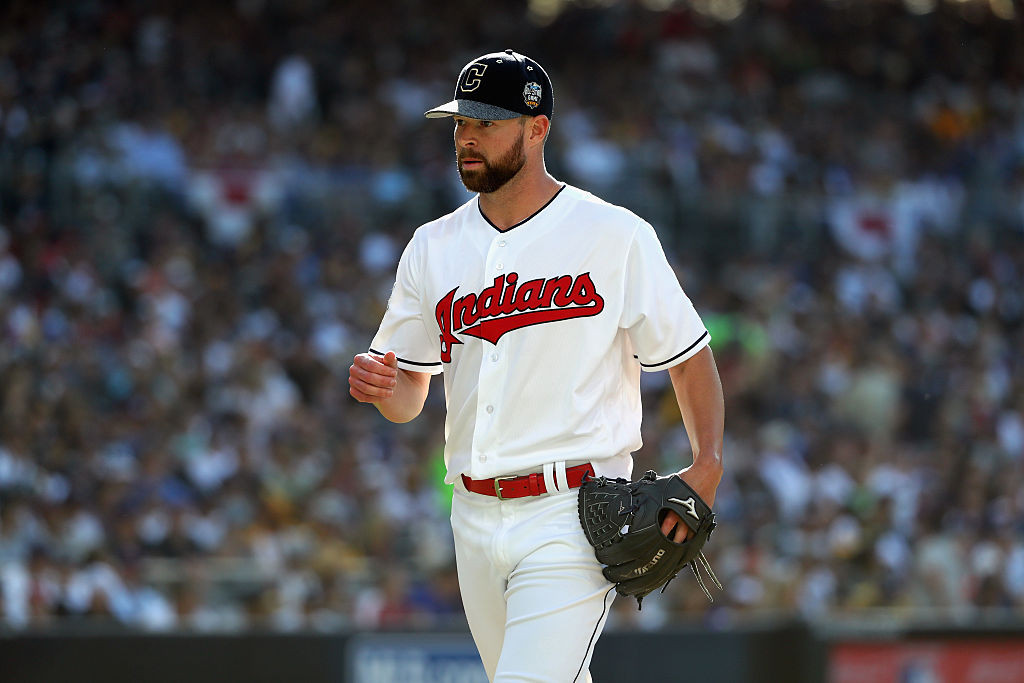 SAN DIEGO, CA - JULY 12: Corey Kluber #28 of the Cleveland Indians reacts during the 87th Annual MLB All-Star Game at PETCO Park on July 12, 2016 in San Diego, California. (Photo by Sean M. Haffey/Getty Images)