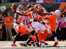 CINCINNATI, OH - OCTOBER 23:  A.J. Green #18 of the Cincinnati Bengals catches a hail marry pass for a touchdown at the end of the second quarter of the game while being defended by Ibraheim Campbell #24 of the Cleveland Browns at Paul Brown Stadium on October 23, 2016 in Cincinnati, Ohio. (Photo by Andy Lyons/Getty Images)