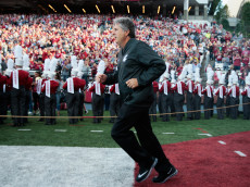 PULLMAN, WA - SEPTEMBER 03:  Head coach Mike Leach of the Washington State Cougars takes the field  prior to the start of the game against the Eastern Washington Eagles at Martin Stadium on September 3, 2016 in Pullman, Washington.  Eastern Washington defeated Washington State 45-42.  (Photo by William Mancebo/Getty Images)