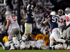 STATE COLLEGE, PA - OCTOBER 22: Garrett Sickels #90 of the Penn State Nittany Lions celebrates after a sack on 4th down in the fourth quarter during the game against the Ohio State Buckeyes on October 22, 2016 at Beaver Stadium in State College, Pennsylvania. (Photo by Justin K. Aller/Getty Images)