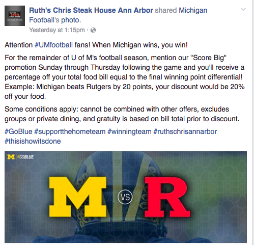 Ruth's Chris Ann Arbor has to regret this MI promotion
