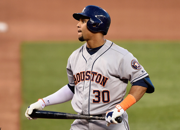 MINNEAPOLIS, MN - AUGUST 08: Carlos Gomez #30 of the Houston Astros reacts to striking out against the Minnesota Twins during the fifth inning of the game on August 8, 2016 at Target Field in Minneapolis, Minnesota. The Twins defeated the Astros 3-1. (Photo by Hannah Foslien/Getty Images)