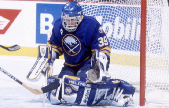 MONTREAL 1990's: Goaltender Dominik Hasek #39 of the Buffalo Sabres protects the net against the Montreal Canadiens in the 1990's at the Montreal Forum in Montreal, Quebec, Canada. (Photo by Denis Brodeur/NHLI via Getty Images)
