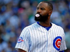 CHICAGO, IL - SEPTEMBER 03: Jason Heyward #22 of the Chicago Cubs blows a bubble while he walks to the dugout at the end of the eighth inning in their game against the San Francisco Giants at Wrigley Field on September 3, 2016 in Chicago, Illinois. The San Francisco Giants won 3-2. (Photo by Jon Durr/Getty Images)
