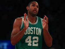NEW YORK, NY - OCTOBER 15: Al Horford #42 of the Boston Celtics celebrates after a basket against the New York Knicks during the second half of their preseason game at Madison Square Garden on October 15, 2016 in New York City. NOTE TO USER: User expressly acknowledges and agrees that, by downloading and or using this photograph, User is consenting to the terms and conditions of the Getty Images License Agreement. (Photo by Michael Reaves/Getty Images)