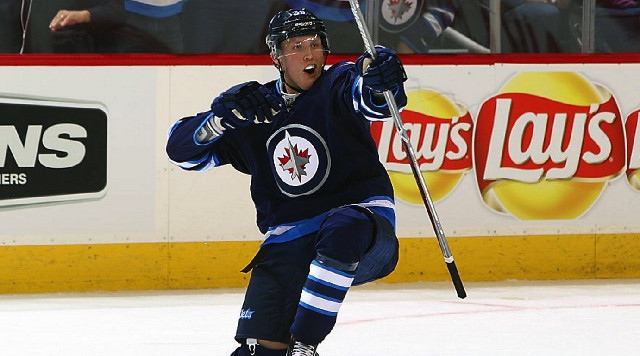 WINNIPEG, MB - OCTOBER 19: Patrik Laine #29 of the Winnipeg Jets celebrates the tying goal in third period action against the Toronto Maple Leafs at the MTS Centre on October 19, 2016 in Winnipeg, Manitoba, Canada. (Photo by Jonathan Kozub/NHLI via Getty Images)