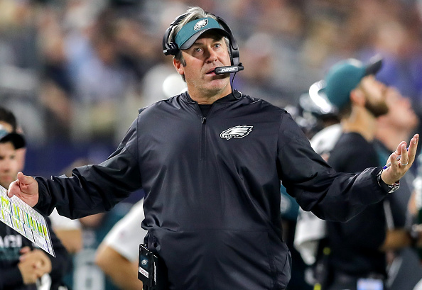 ARLINGTON, TX- OCTOBER 30: Philadelphia Eagles head coach Doug Pederson disagrees on a call during first half action of an NFL football game between the Philadelphia Eagles and the Dallas Cowboys on October 30, 2016, at AT&T Stadium in Arlington, TX. (Photo by Steve Nurenberg/Icon Sportswire via Getty Images)
