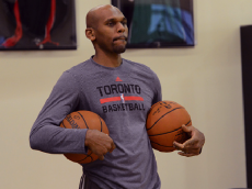 TORONTO, CANADA - December 6: Jerry Stackhouse of the Toronto Raptors participates in an open practice on December 6, 2015 at the Air Canada Centre in Toronto, Ontario, Canada. (Photo by Ron Turenne/NBAE via Getty Images)