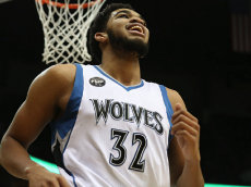 MINNEAPOLIS, MN - DECEMBER 18: Karl-Anthony Towns #32 of the Minnesota Timberwolves looks on during the game against the Sacramento Kings on December 18, 2015 at Target Center in Minneapolis, Minnesota.  (Photo by Jordan Johnson/NBAE via Getty Images)