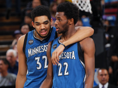 SACRAMENTO, CA - APRIL 7: Andrew Wiggins #22 and Karl-Anthony Towns #32 of the Minnesota Timberwolves talk during the game against the Sacramento Kings on April 7, 2016 at Sleep Train Arena in Sacramento, California. (Photo by Rocky Widner/NBAE via Getty Images)