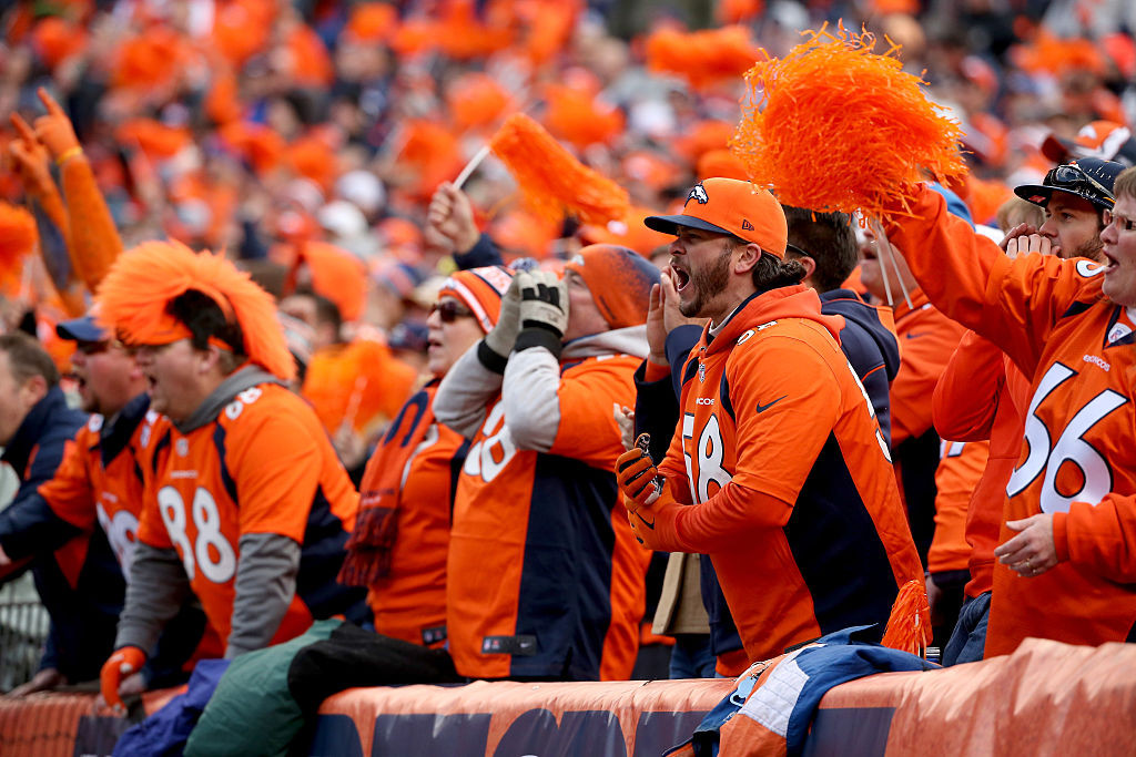 DENVER, CO - JANUARY 24:  Denver Broncos fans cheer in the AFC Championship game at Sports Authority Field at Mile High on January 24, 2016 in Denver, Colorado.  (Photo by Doug Pensinger/Getty Images)