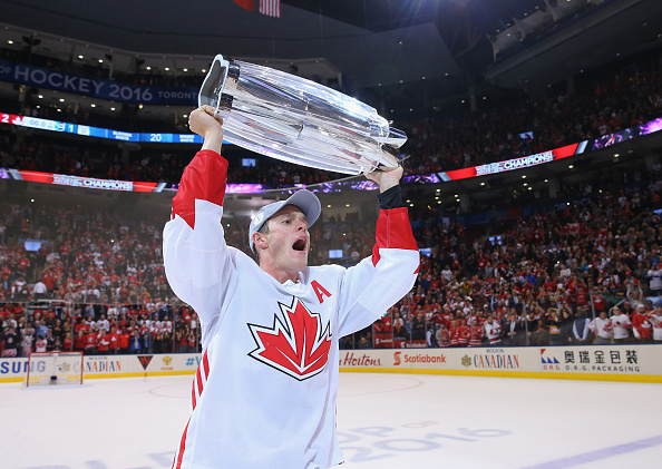 TORONTO, ON - SEPTEMBER 29:  Jonathan Toews #16 of Team Canada carries the World Cup of Hockey Trophy after Canada defeated Europe 2-1 during Game Two of the World Cup of Hockey final series at the Air Canada Centre on September 29, 2016 in Toronto, Canada.  (Photo by Bruce Bennett/Getty Images)