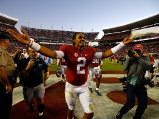 TUSCALOOSA, AL - OCTOBER 22:  Jalen Hurts #2 of the Alabama Crimson Tide reacts after their 33-14 win over the Texas A&M Aggies at Bryant-Denny Stadium on October 22, 2016 in Tuscaloosa, Alabama.  (Photo by Kevin C. Cox/Getty Images)