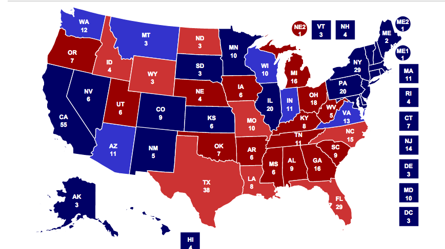 The Electoral map of football The NFL vs college football