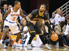 CLEVELAND, OH - OCTOBER 25:  Kyrie Irving #2 of the Cleveland Cavaliers controls the ball against the New York Knicks on October 25, 2016 at Quicken Loans Arena in Cleveland, Ohio. NOTE TO USER: User expressly acknowledges and agrees that, by downloading and or using this photograph, User is consenting to the terms and conditions of the Getty Images License Agreement.  (Photo by Jamie Sabau/Getty Images)