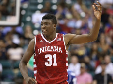 HONOLULU, HI - NOVEMBER 11: Thomas Bryant #31 of the Indiana Hoosiers gestures to the crowd after scoring during the first half of the second game of the Armed Forces Classic at the Stan Sheriff Center on November 11, 2016 in Honolulu, Hawaii. (Photo by Darryl Oumi/Getty Images)