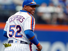 NEW YORK, NY - SEPTEMBER 18: Yoenis Cespedes #52 of the New York Mets reacts after a catch during the first inning against the Minnesota Twins at Citi Field on September 18, 2016 in the Flushing neighborhood of the Queens borough of New York City. (Photo by Adam Hunger/Getty Images)