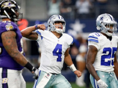 Dallas Cowboys quarterback Dak Prescott (4) reacts after throwing the game-winning touchdown pass to wide receiver Dez Bryant in the second half against the Baltimore Ravens on Sunday, Nov. 20, 2016 at AT&T Stadium in Arlington, Texas. The Cowboys won 27-17. (Brad Loper/Fort Worth Star-Telegram/TNS)