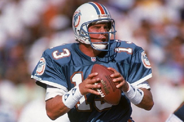 1991: Quarterback Dan Marino #13 of the Miami Dolphins looks to pass the ball during a 1991 season game. (Photo by: Andy Hayt/Getty Images)