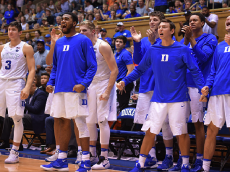 DURHAM, NC - OCTOBER 28: Players of the Duke Blue Devils react from their bench during their game against the Virginia State Trojans at Cameron Indoor Stadium on October 28, 2016 in Durham, North Carolina. (Photo by Lance King/Getty Images)