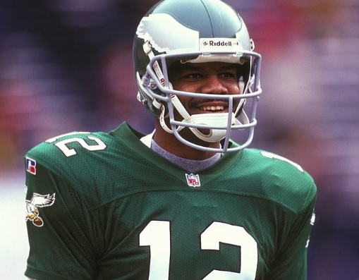 WASHINGTON - NOVEMBER 1: Randall Cunningham #12 of the Philadelphia Eagles during a NFL football game against the Washinton Redskins on November 1, 1995 at RFK Stadium in Washington D.C. (Photo by Mitchell Layton/Getty Images)