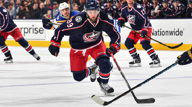 COLUMBUS, OH - NOVEMBER 12: Sam Gagne #89 of the Columbus Blue Jackets skates against the St. Louis Blues on November 12, 2016 at Nationwide Arena in Columbus, Ohio. Columbus defeated St. Louis 8-4. (Photo by Jamie Sabau/NHLI via Getty Images)