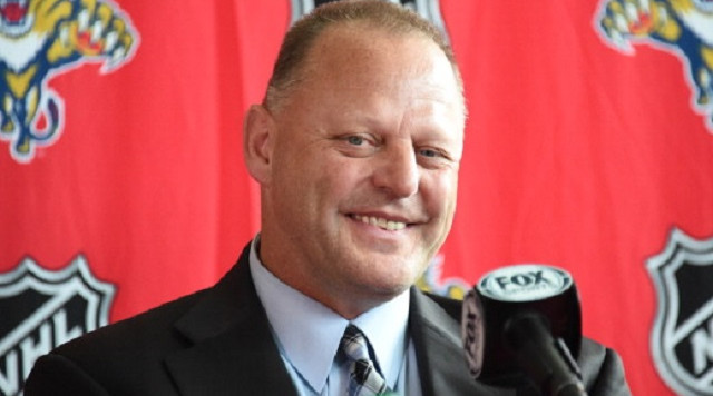 SUNRISE, FL - JUNE 23:  Gerard Gallant speaks at a press conference announcing him as Florida Panthers new head coach at the BB&T Center on June 23, 2014 in Sunrise, Florida.  (Photo by Ron Elkman/Sports Imagery/ Getty Images)