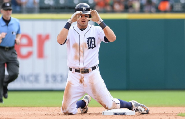DETROIT, MI - AUGUST 31:  Ian Kinsler #3 of the Detroit Tigers reacts after sliding safely into second base during the game against the Chicago White Sox at Comerica Park on August 31, 2016 in Detroit, Michigan. The Tigers defeated the White Sox 3-2.  (Photo by Mark Cunningham/MLB Photos via Getty Images)