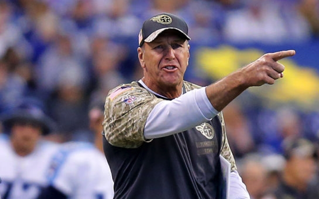 INDIANAPOLIS, IN - NOVEMBER 20: Tennessee Titans Head Coach Mike Mularkey voices his opinion during an NFL football game between the Tennessee Titans and the Indianapolis Colts on November 20, 2016, at Lucas Oil Stadium in Indianapolis IN.The Indianapolis Colts defeated the Tennessee Titans 24-17. (Photo by Jeffrey Brown/Icon Sportswire via Getty Images)