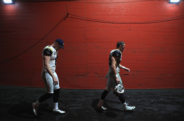 LOS ANGELES, CA - NOVEMBER 20:  Punter Johnny Hekker #6 (L) and defensive back Cody Davis #38 (R) of the Los Angeles Rams walk through the tunnel after after their team was defeated by the Miami Dolphins 14-10 at Los Angeles Coliseum on November 20, 2016 in Los Angeles, California.  (Photo by Sean M. Haffey/Getty Images)