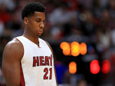 MIAMI, FL - OCTOBER 28: Hassan Whiteside #21 of the Miami Heat looks on during a game against the Charlotte Hornets at American Airlines Arena on October 28, 2016 in Miami, Florida. (Photo by Mike Ehrmann/Getty Images)