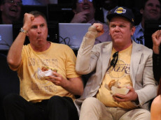 LOS ANGELES, CA - MAY 02:  (L-R) Actors Will Ferrell and John C. Reilly sit courtside during Game One of the Western Conference Semifinals in the 2011 NBA Playoffs between the Los Angeles Lakers and the Dallas Mavericks at Staples Center on May 2, 2011 in Los Angeles, California. NOTE TO USER: User expressly acknowledges and agrees that, by downloading and or using this photograph, User is consenting to the terms and conditions of the Getty Images License Agreement.  (Photo by Harry How/Getty Images)
