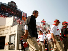 COLUMBUS, OH - SEPTEMBER 3:  Head Coach Luke Fickell of the Ohio State Buckeyes leads his team onto the field prior to the start of the game against the Akron Zips on September 3, 2011 at Ohio Stadium in Columbus, Ohio. (Photo by Kirk Irwin/Getty Images)