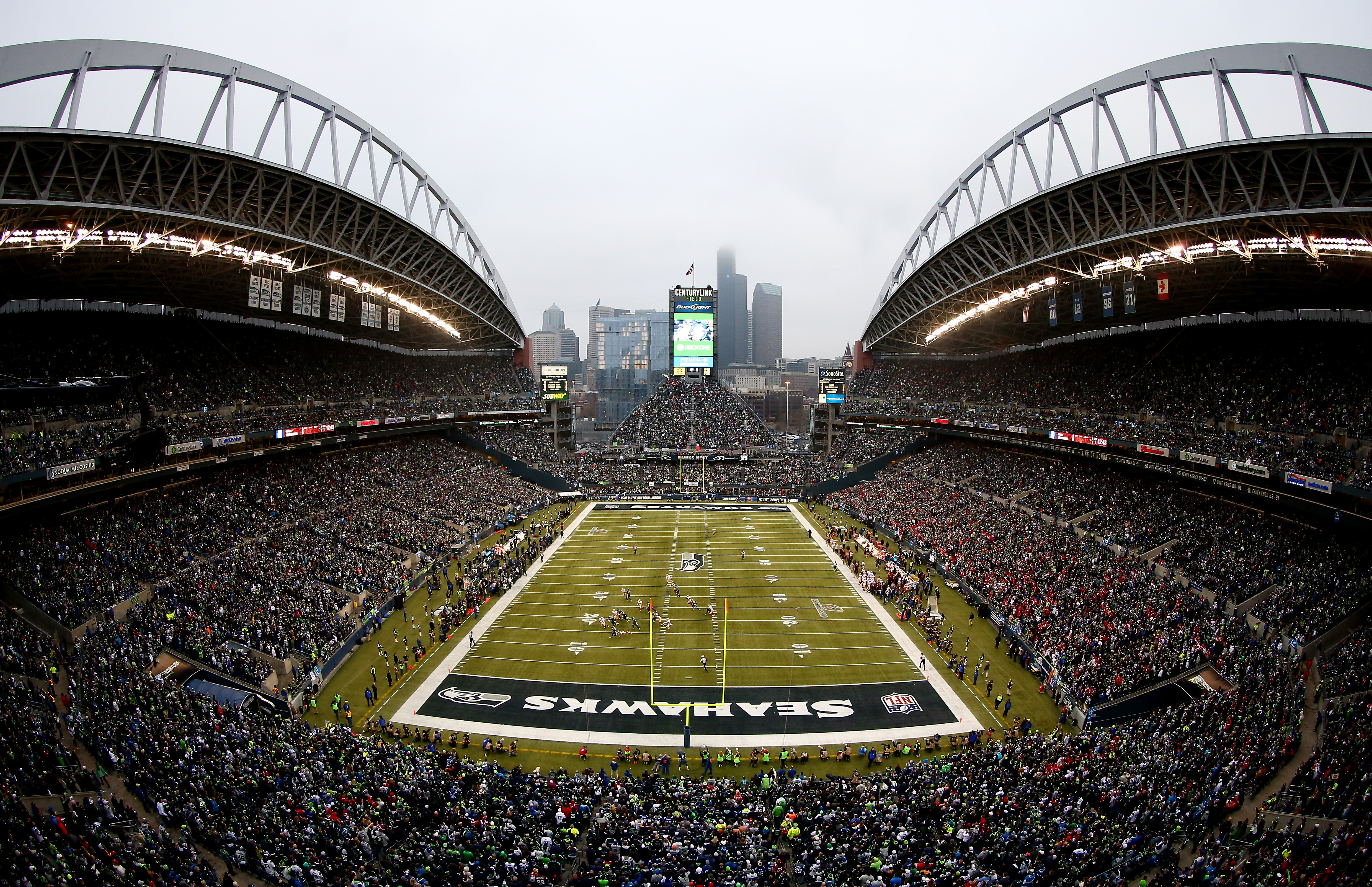 SEATTLE, WA - JANUARY 19:  A general view in the first quarter between the Seattle Seahawks and the San Francisco 49ers during the 2014 NFC Championship at CenturyLink Field on January 19, 2014 in Seattle, Washington.  (Photo by Tom Pennington/Getty Images)