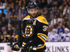 BOSTON, MA - APRIL 04:  Patrice Bergeron #37 of the Boston Bruins looks on during the first period against the Toronto Maple Leafs at TD Garden on April 4, 2015 in Boston, Massachusetts.  (Photo by Maddie Meyer/Getty Images)