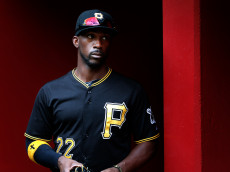 PHOENIX, AZ - APRIL 26:  Andrew McCutchen #22 of the Pittsburgh Pirates in the dugout before the MLB game against the Arizona Diamondbacks at Chase Field on April 26, 2015 in Phoenix, Arizona. The Pirates defeated the Diamondbacks 8-0.  (Photo by Christian Petersen/Getty Images)