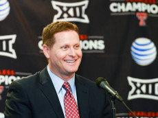 LUBBOCK, TX - JANUARY 16: Texas Tech Athletic Director Kirby Hocutt answers questions from the media after being named the chairman of the College Football Playoff Selection Committee on January 16, 2016 at United Supermarkets Arena in Lubbock, Texas. (Photo by John Weast/Getty Images)