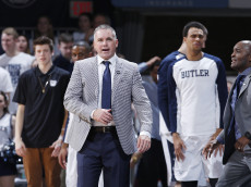 INDIANAPOLIS, IN - FEBRUARY 13: Head coach Chris Holtmann of the Butler Bulldogs reacts in the second half of the game against the Xavier Musketeers at Hinkle Fieldhouse on February 13, 2016 in Indianapolis, Indiana. Xavier defeated Butler 74-57. (Photo by Joe Robbins/Getty Images)
